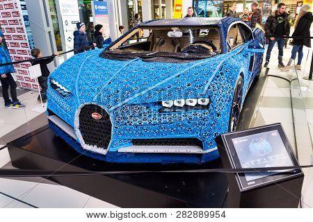 Prague, Czech Republic - January 6 2019: Bugatti Chiron Full-size Model From Lego Bricks Stands On J