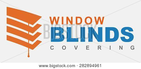 Window Blinds Covering Logo Company. Orange And Blue