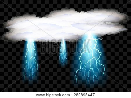 Set Realistic Electric Discharge Shocked Effect For Design. Power Electrical Energy Lightning Spark