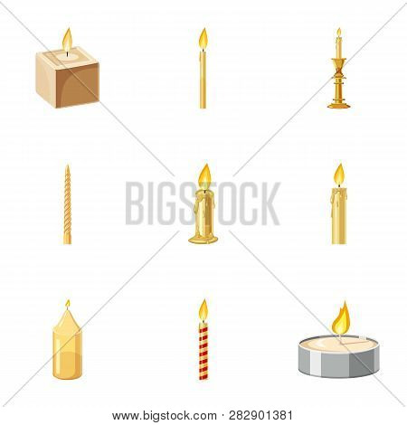 Paraffin candles icons set. Cartoon set of 9 paraffin candles icons for web isolated on white background poster