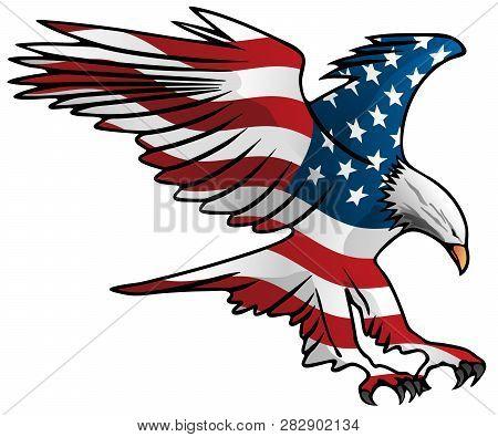 Patriotic Flying American Flag Eagle Vector Illustration
