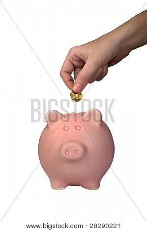 Pink piggy bank with clipping path poster