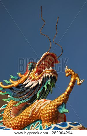 Colourful Decoration Adorns The Chinese Seafront Temple At Siracha,eastern Thailand.