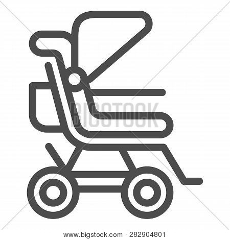 Stroller Line Icon. Baby Pushchair Vector Illustration Isolated On White. Buggy Outline Style Design