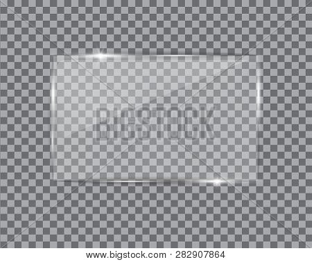 Glass Plate On Transparent Background. See Through Mock Up Square Shape. Vector Elements With Glares