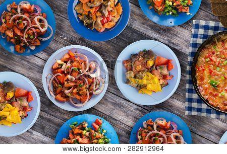 Breakfast Of Vegetables On A Wooden Background. Vegetarian Breakfast.