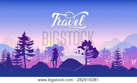 Silhouette Yang Woman Relax In Forest At Sunset Design. Girl Stand And Looks At Nature Illustration.