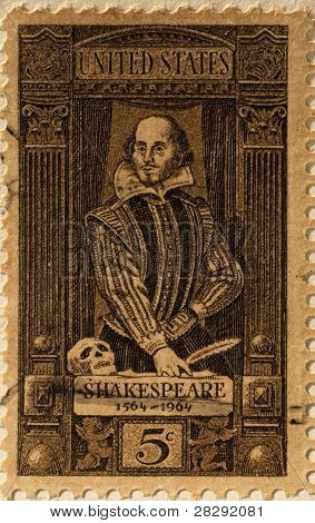 UNITED STATES OF AMERICA - CIRCA 1964: A 5 cent US stamp, commemorating the 400th anniversary of the birth of William Shakespeare, circa 1964