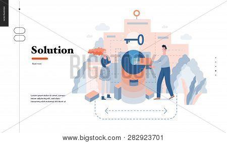 Technology 3 - Solution - Modern Flat Vector Concept Digital Illustration Problem Solution Metaphor,