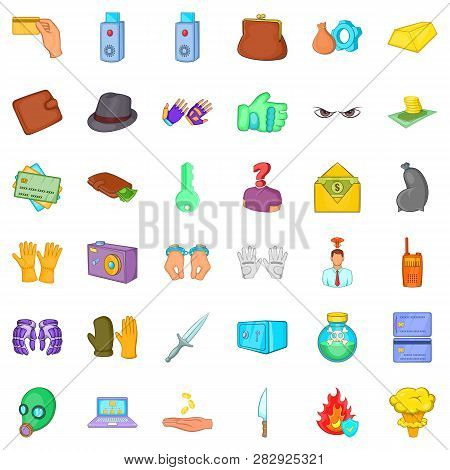 Guilty Man Icons Set. Cartoon Style Of 36 Guilty Man Icons For Web Isolated On White Background