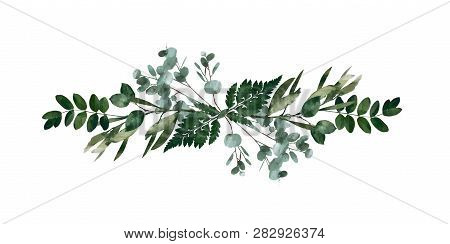 Watercolor Modern Decorative Element.  Eucalyptus Round Green Leaf Wreath, Greenery Branches, Garlan