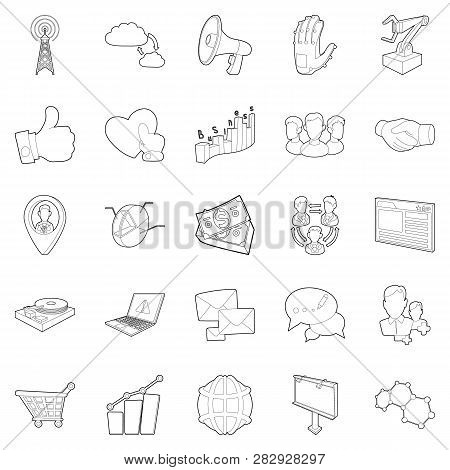 Business scope icons set. Outline set of 25 business scope icons for web isolated on white background poster