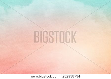 Fantasy Cloudy Sky With Pastel Gradient Color And Grunge Textrue , Nature Abstract Background