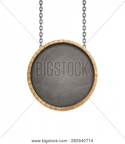 Advertising sign board -The bottom of a wine barrel hanging on a chain isolated on white, including clipping path