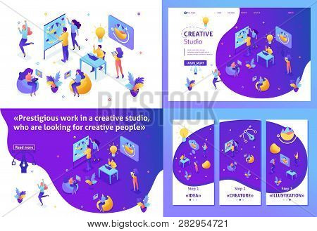 Set Template Design Article, Landing Page, App Design, Isometric Creative Studio, Creating Ideas, Em