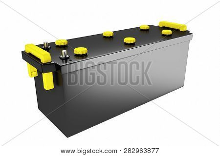 3d Rendering. 24v Battery For Truck. Commercial Vehicle Accumulator. Black Truck Battery, Spare Part