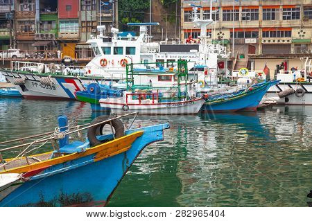 Keelung, Taiwan - September 5, 2018: Boats Are Moored In Old Fishing Harbor Of Keelung City