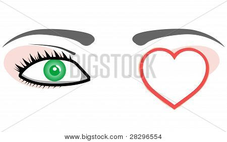 Green eye with valentines love heart. Vector