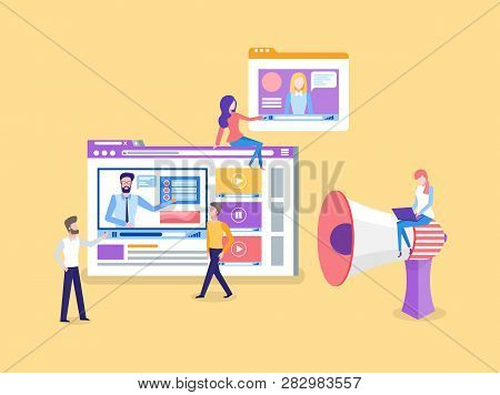 Online Courses Window With Tutoring Videos Tutorials Vector. Woman Watching Educational Explanation