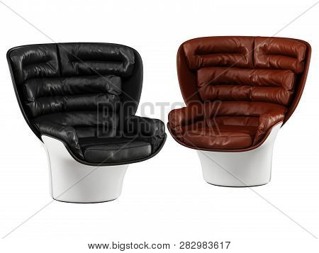 Two Leather Chairs Black And Brown Leather On A White Background 3d Rendering