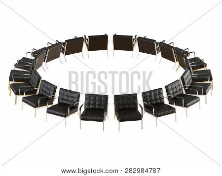 Leather Chairs Made Of Black Leather Stand In A Circle On A White Background 3d Rendering