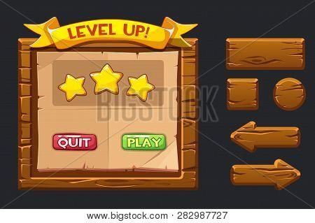 Vector Game Ui Kit. Template Wooden Menu Of Graphical User Interface Gui And Buttons To Build 2d Gam