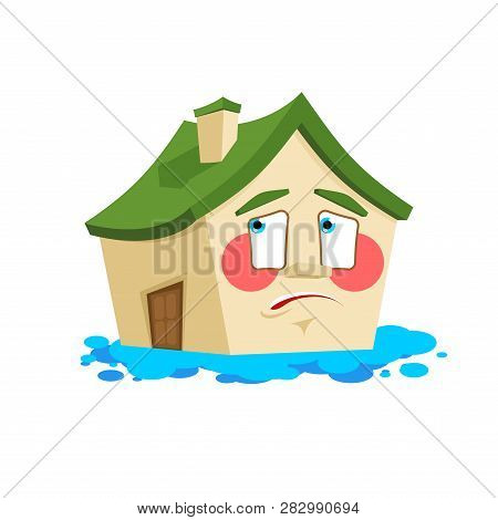 House Pee Flooded Isolated. Crying Home Cartoon Style Vector