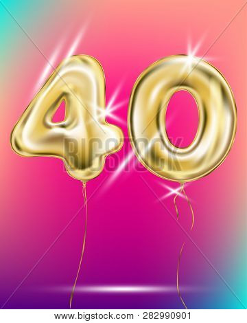 Gold Foil Balloon Forty 40 Number On Disco Rainbow Gradient Background