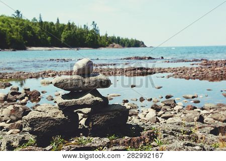 Stack of rocks on the coast of Lake Superior