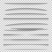 Shadow dividers. Line paper design panel shadow effects divider webpage edge template tabs group, web frame page vector elements poster