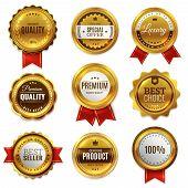 Gold badges seal quality labels. Sale medal badge premium stamp golden genuine emblem guarantee round best seal blank vector set poster