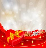 Abstract background with red bow and ribbons. Vector. poster