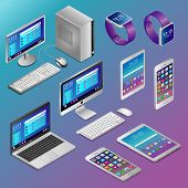 Computers and digital gadgets in isometry on blue background poster
