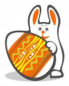 Happy bunny and easter egg isolated on a white background. Easter illustration. poster