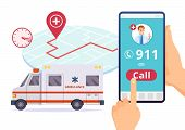 Ambulance service. Urgent 911 hospital emergency call vector concept. Illustration of emergency 911 telephone assistance poster