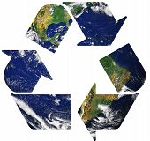 Recycle symbol on planet earth background 1 poster