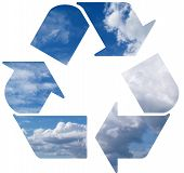 Green world wide Recycle symbol on cloud background poster