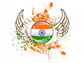 A sign of Indian flag on colorful grunge showing freedom with wings and stars for Republic and Independence Day. poster