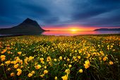 Splendid Iceland landscape with awesome Kirkjufell volcano at sunset. Location place Snaefellsnes peninsula, Iceland, Europe. Scenic image of the exotic summer scene. Discover the beauty of earth. poster