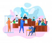 Vector EPS 10 of Hearing in Courtroom. Judge, Witnesses and Jury. Attorney While Litigation. Court Decision. Criminal in Jail. Sad Man Holds Head. Lawyer Services Concept. Criminal Law. poster