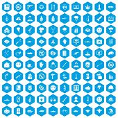 100 oppression icons set in blue hexagon isolated illustration poster