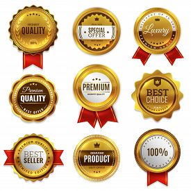 Gold Badges Seal Quality Labels. Sale Medal Badge Premium Stamp Golden Genuine Emblem Guarantee Roun