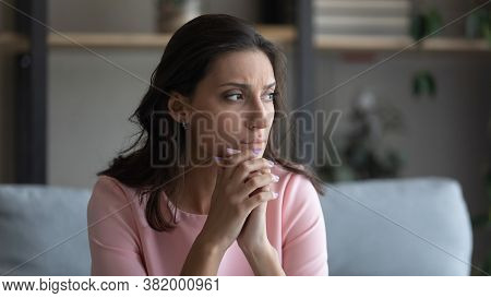Anxious Arabic Woman Feel Unhappy Thinking At Home