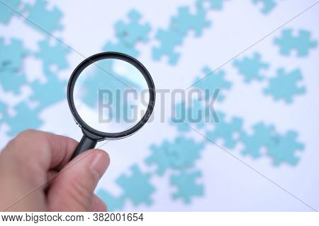 Jigsaw Puzzle. Business Solutions, Success And Strategy Concept. Businessman Concept. Jigsaw Backgro