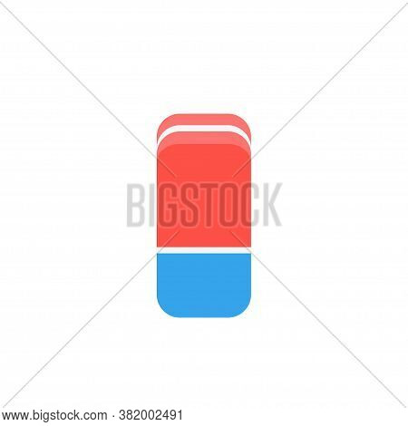 Cartoon Bicolor Blue And Red Eraser Rubber Flat Icon. School Stationery Supplies Collection. Vector