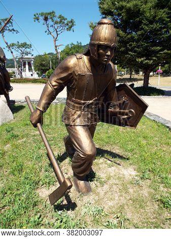 Gimhae, Busan, South Korea, September 1, 2017: Geumgwan Gaya Kingdom-era Warrior (43 - 532) In Gimha