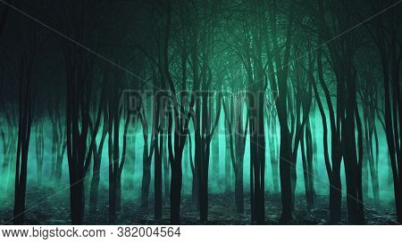 3D render of a Halloween landscape with spooky foggy forest