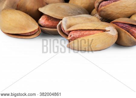 Pistachio In Nutshell Isolated On White Background, Composition Of Pistachios Great For Healthy And