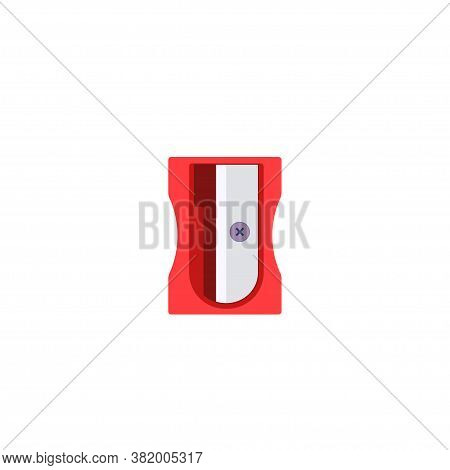 Simple Plastic Red Pencil Sharpener. Flat Style. Vector Illustration Isolated On White Background