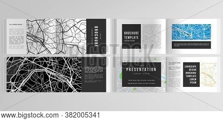 Vector Layouts Of Horizontal Presentation Design Templates With Urban City Map Of Paris For Landscap